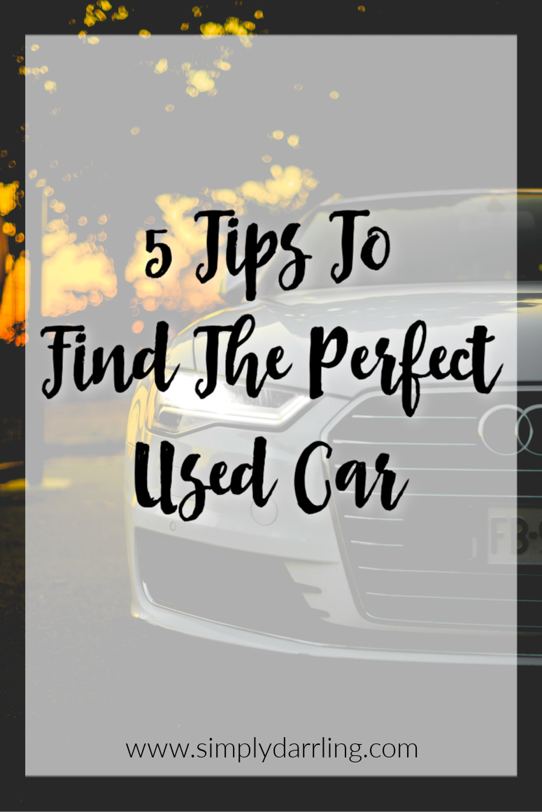 "Car with Text Overlay of ""5 Tips to find the perfect used car"""