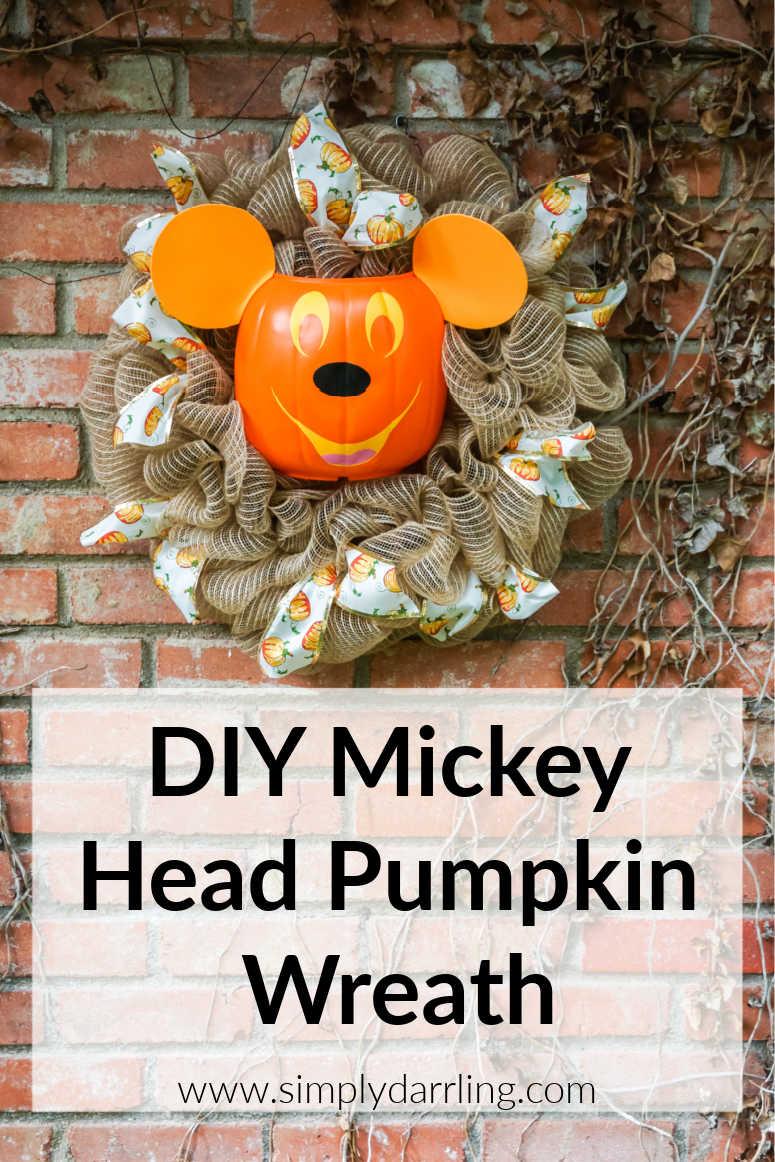 Mickey Pumpkin Wreath on brick wall