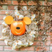 Wreath with Mickey Pumpkin Head in Center