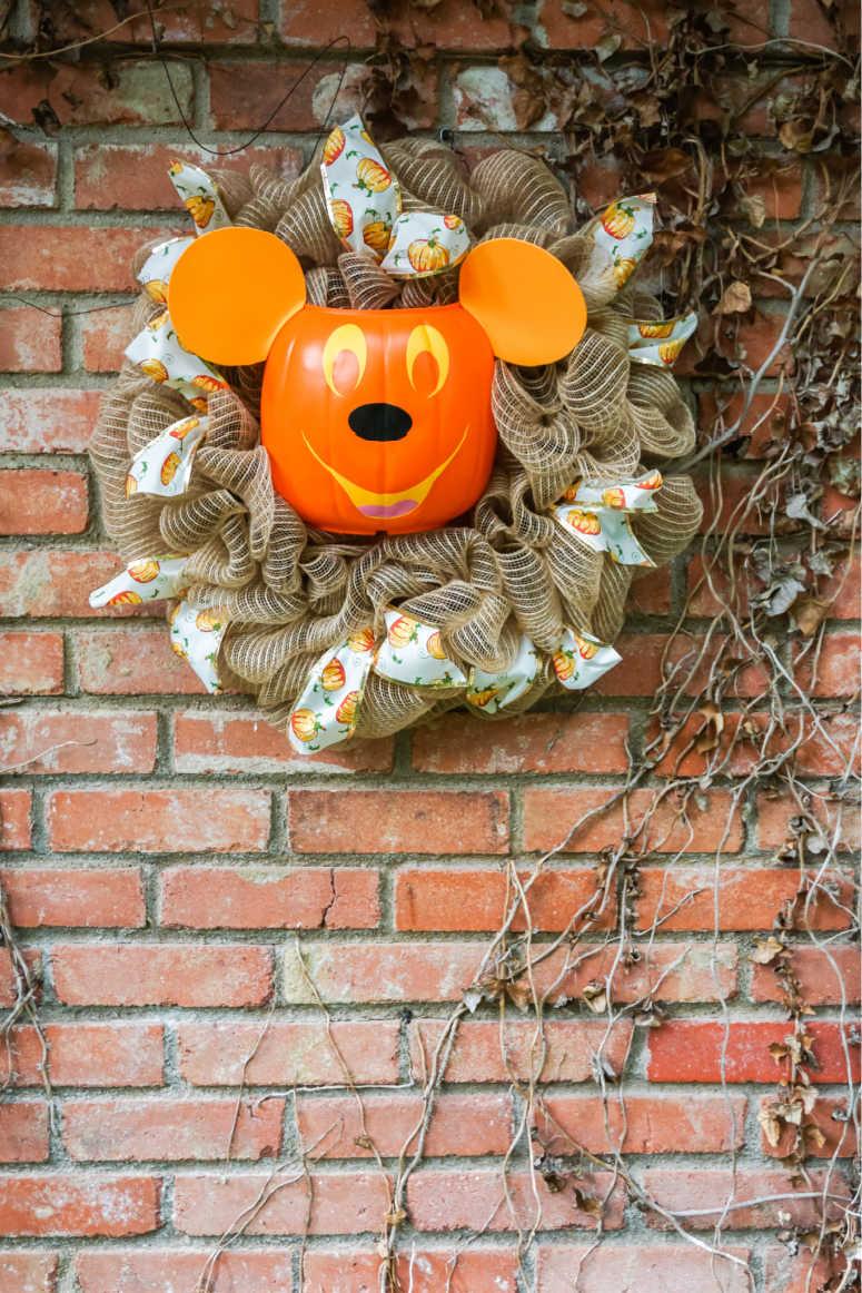 Wreath with Mickey Pumpkin Head in Center