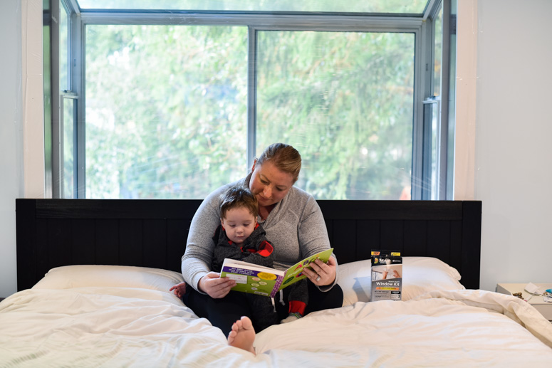 Mother and Child on bed reading
