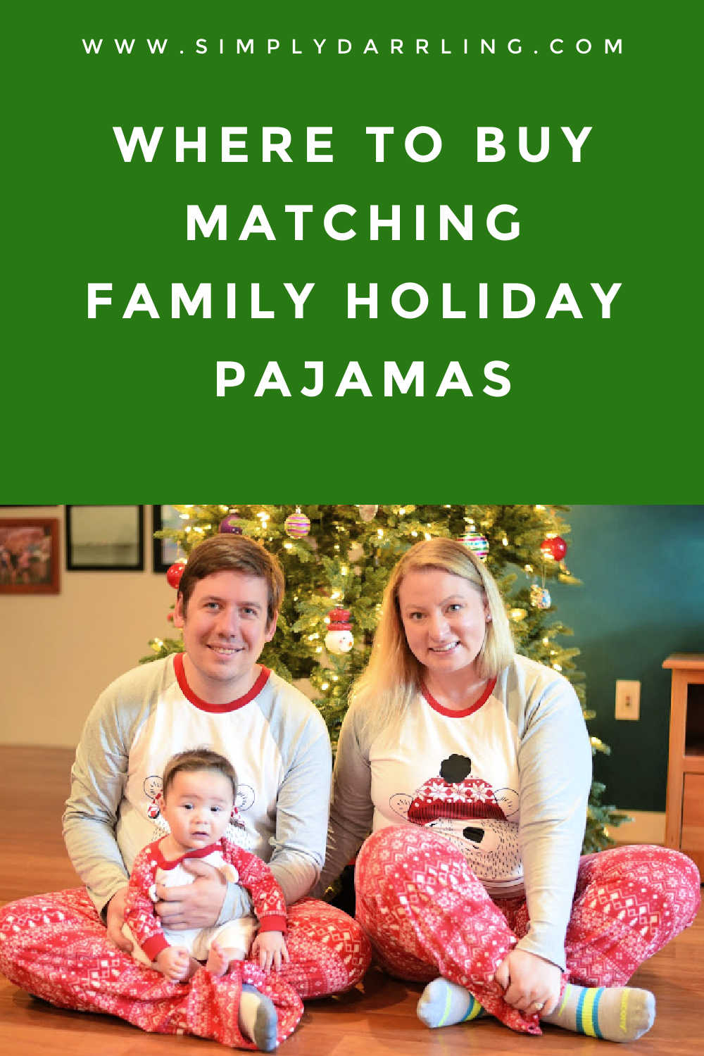 Family with Christmas Tree in Pajamas