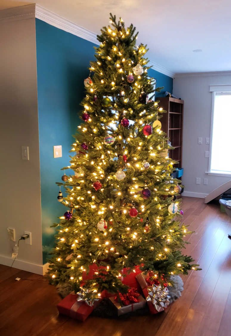 Christmas tree with white lights and glass ornaments