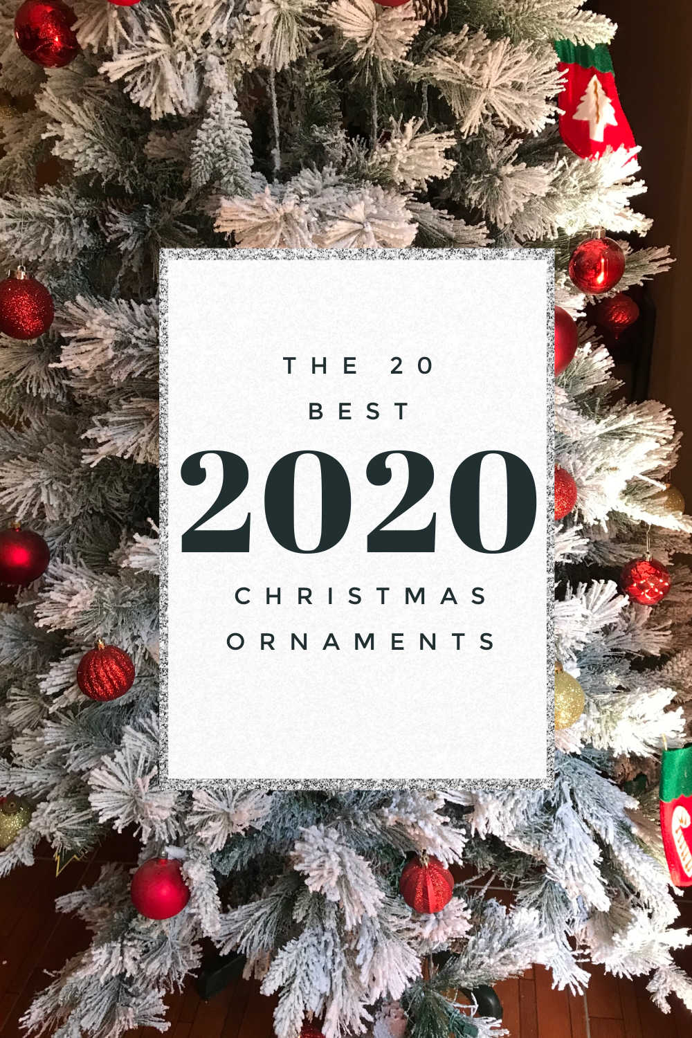 2020 Christmas ornaments text overlay