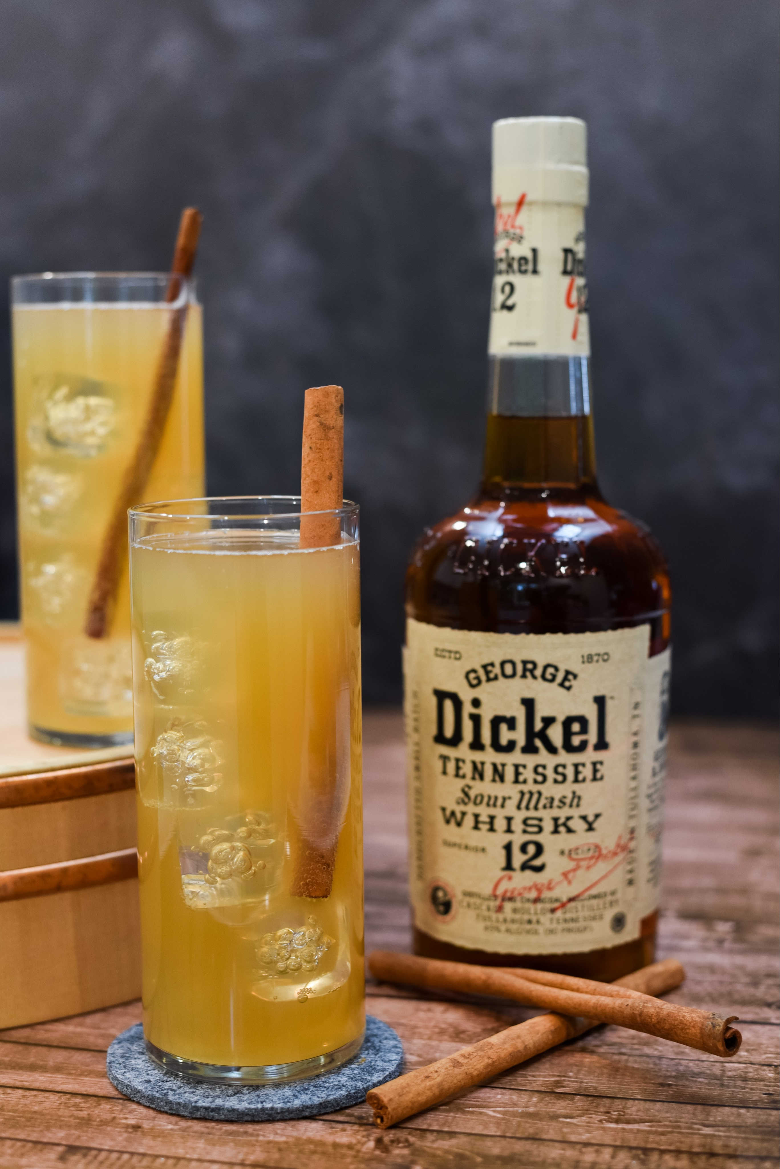 Apple Cocktail in front of George Dickel bottle