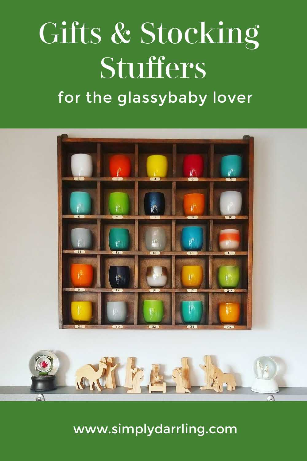 Cubby filled with Glassybaby