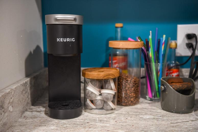 Mini Keurig and Glass jars of coffee
