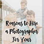 """Family on the beach with """"reasons to hire a photographer for your family vacation"""" text overlay"""