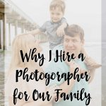 """Family on the beach with text """"why I hire a photographer for our family vacations"""""""