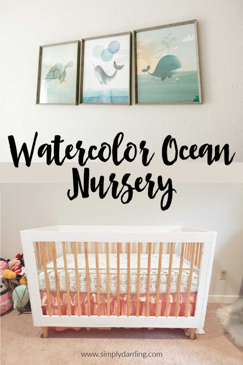 """""""Watercolor Ocean Nursery"""" text over image of crib and art prints"""